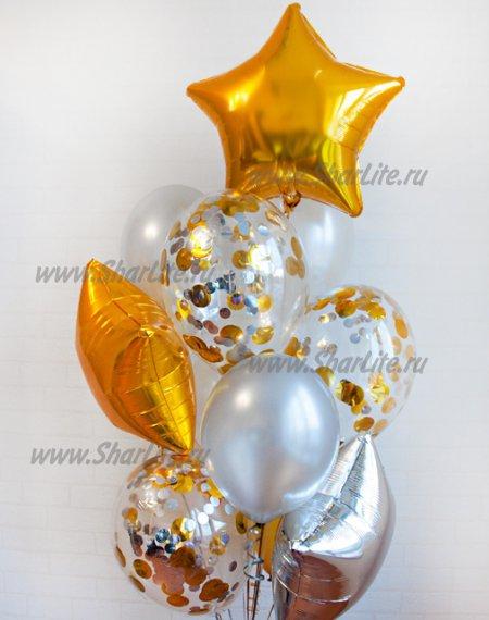 Набор из шаров с цифрой в серебряно-золотой гамме