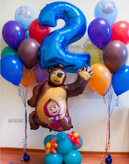 Набор шаров Маша и Медведь с цифрой на подставке