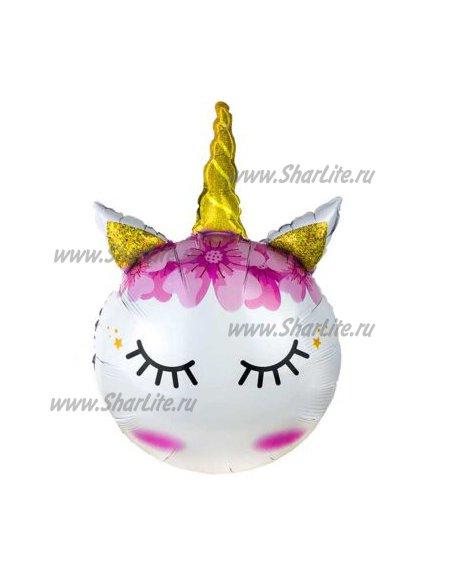 Фольгированный шар Единорожка с золотым рогом
