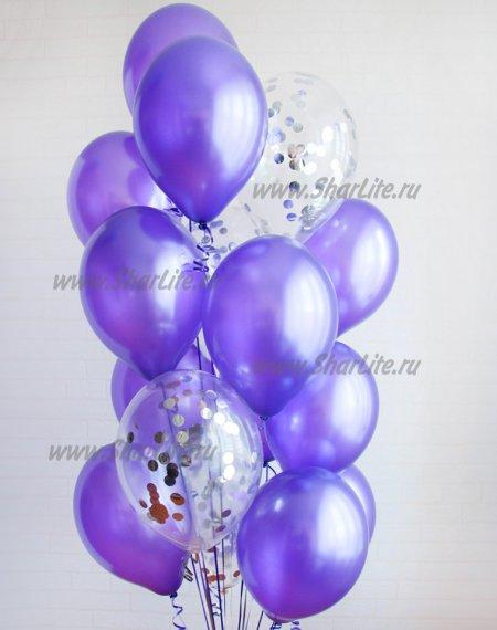 Набор шаров Фиолетовый с серебряным конфетти
