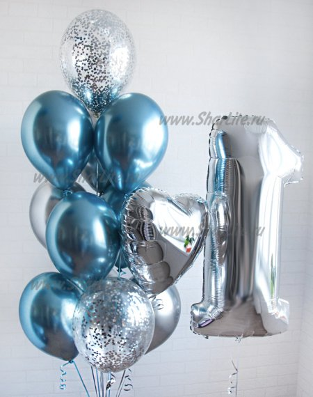 Набор ХРОМ серебро с голубым и цифрой
