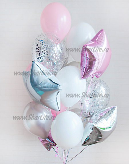 Букет из шаров Розовый с серебром